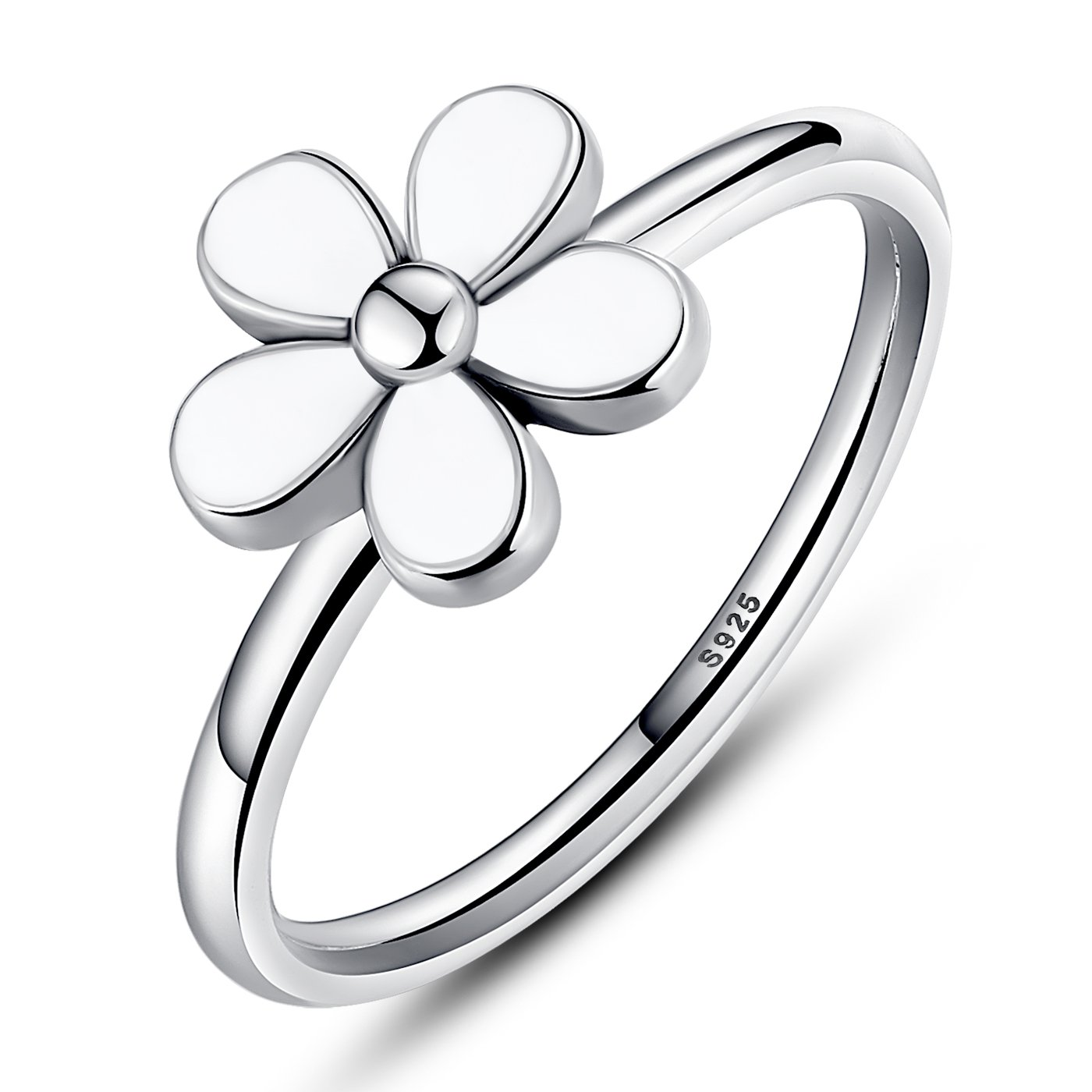 BAMOER 925 Sterling Silver Vintage Flower Stackable wedding Rings White Enamel For Women Size 6-9 (7)