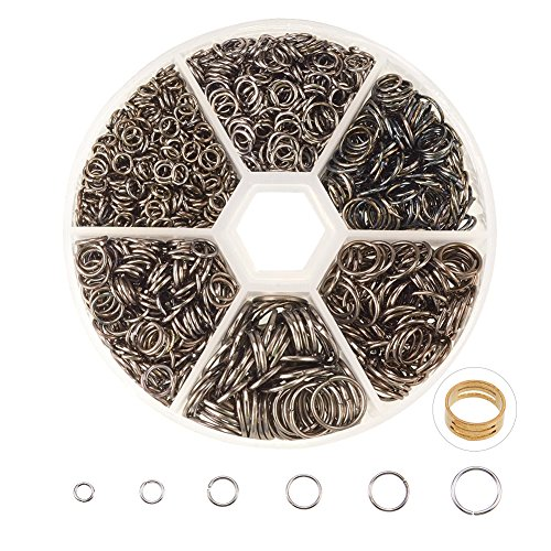 PandaHall Elite About 1745 Pcs Iron Open Jump Rings Chain Connector Diameter 4mm 5mm 6mm 7mm 8mm 10mm for Jewelry Findings Gunmetal
