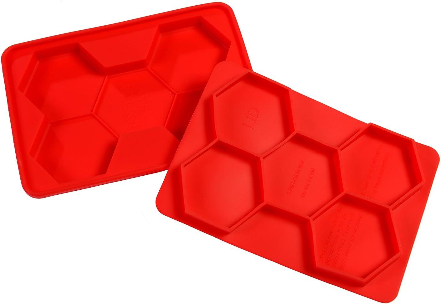 5 in 1 Hexagon Burger Press Nonstick Flexible Red Silicone BBQ Patty Mold