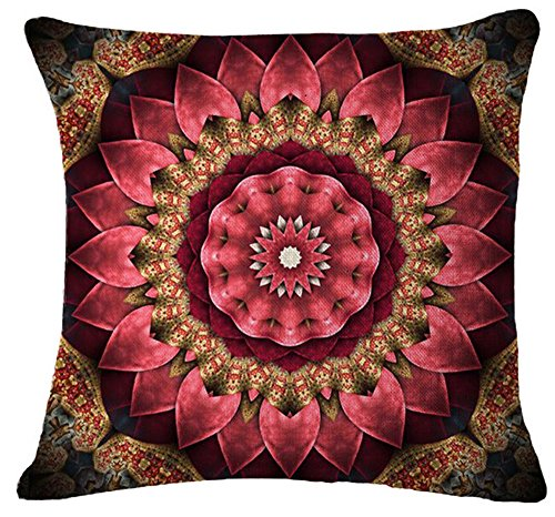 Andreannie European Retro Floral Medallion Moroccan Style Flowers Dark Pink Cotton Linen Throw Pillow Case Personalized Cushion Cover Home Office Decorative Square 18 X 18 Inches