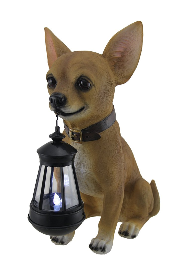 Zeckos Little Light Keeper Chihuahua Statue and LED Lantern