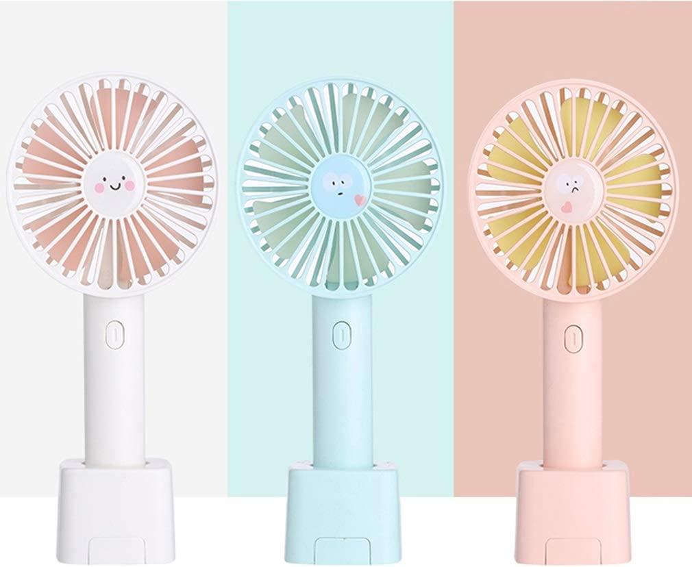 Mini Handheld USB Small Fan Charging Mute Can Stand with Mobile Phone Holder 3 Winds Low Noise Tingting Fan Color : Pink, Size : 9.85.520.8cm