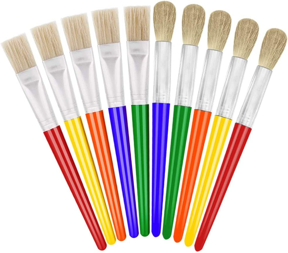 Childrens Kids Paint Brush Set of 5 Art Craft Creative Artist Chubby Plastic 3+