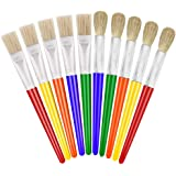 Kids Paint Brushes, Anezus 10 Pcs Craft Paint Brushes for Kids Big Washable Toddler Paint Brushes Round and Flat Chubby Presc