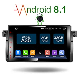 Amaseaudio Upgrade 9 inch TFT LCD Touch Screen Android 7.1 Auto Car Radio Player 1 Din Deckless In-Dash Navigation GPS Head Units for BMW E46 M3 318 320 325 330 335
