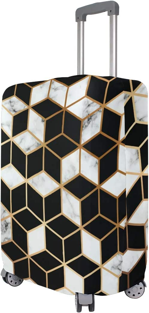 Travel Luggage Cover Golden Line Geometric Pattern Black White Suitcase Protector