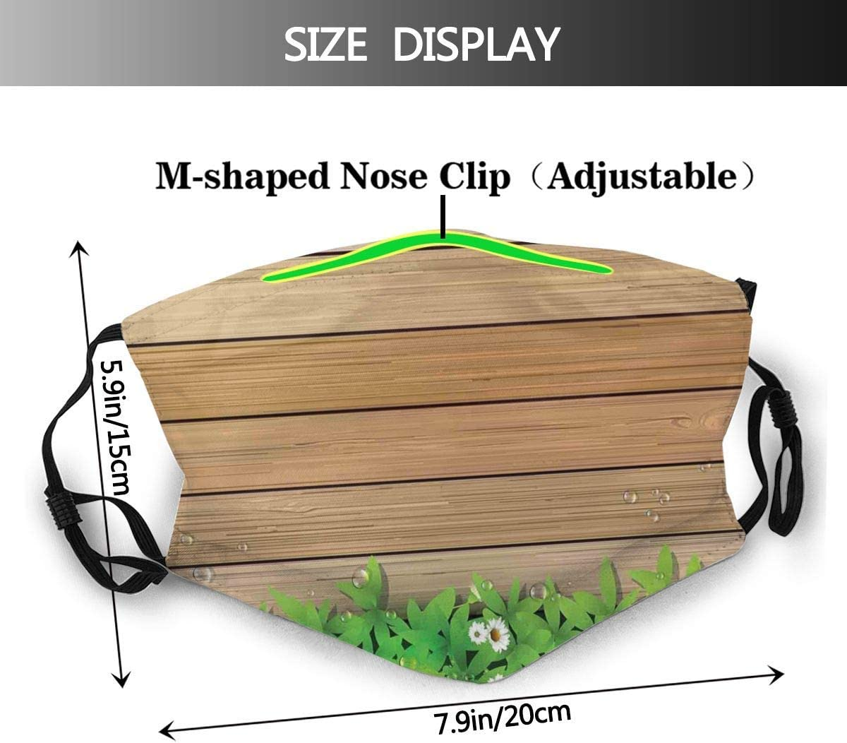 819 SFKKL Daisy Leafs and Water Droplets Wood Fence Spring Nature Theme Dust Washable Reusable Filter and Reusable Mouth Warm Windproof Cotton Face