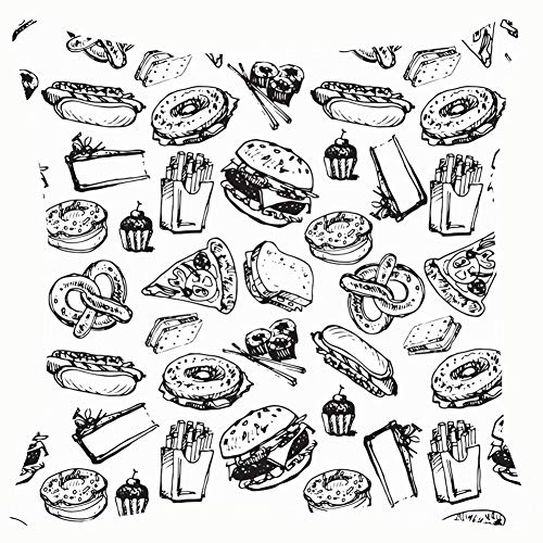 Throw Pillow Covers Painted Black Ink Sketch Fast Food and Drink Burger Decorative Cushion Case for Sofa Bedroom Car 18 X 18 Inch 45 X 45 cm]()