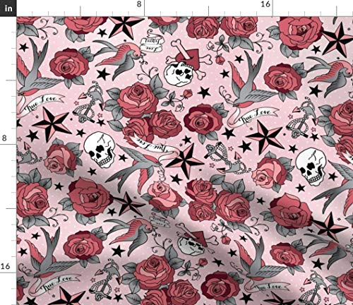 Grunge Tattoo Fabric - Girly In Pink Floral Retro Rockabilly Roses Skull Stars Abstract Print on Fabric by the Yard - Basketweave Cotton Canvas for Upholstery Home Decor Bottomweight Apparel