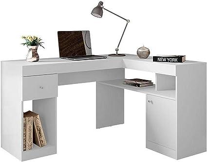 Bureau D Angle Design Blanc Et Chene Avec Rangements Personnalisables