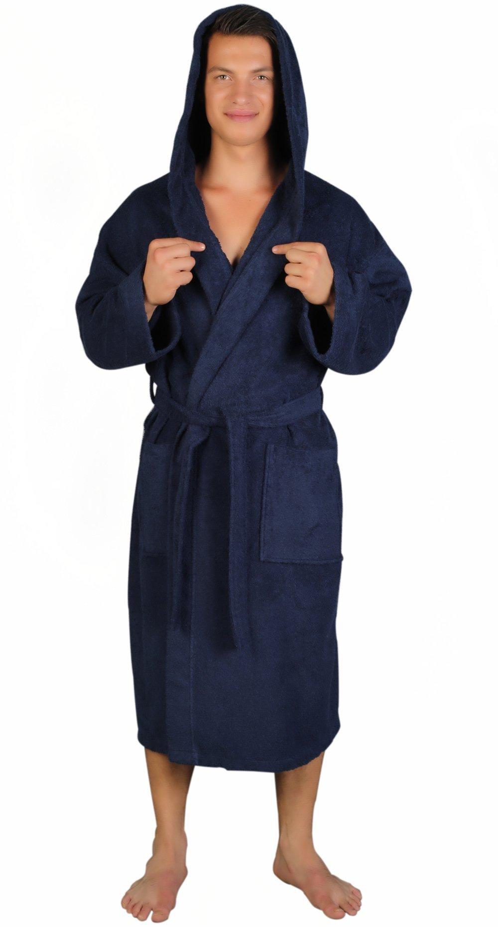 Arus Men's Classic Hooded Bathrobe Turkish Cotton Terry Cloth Robe (L/XL,N.Blue)