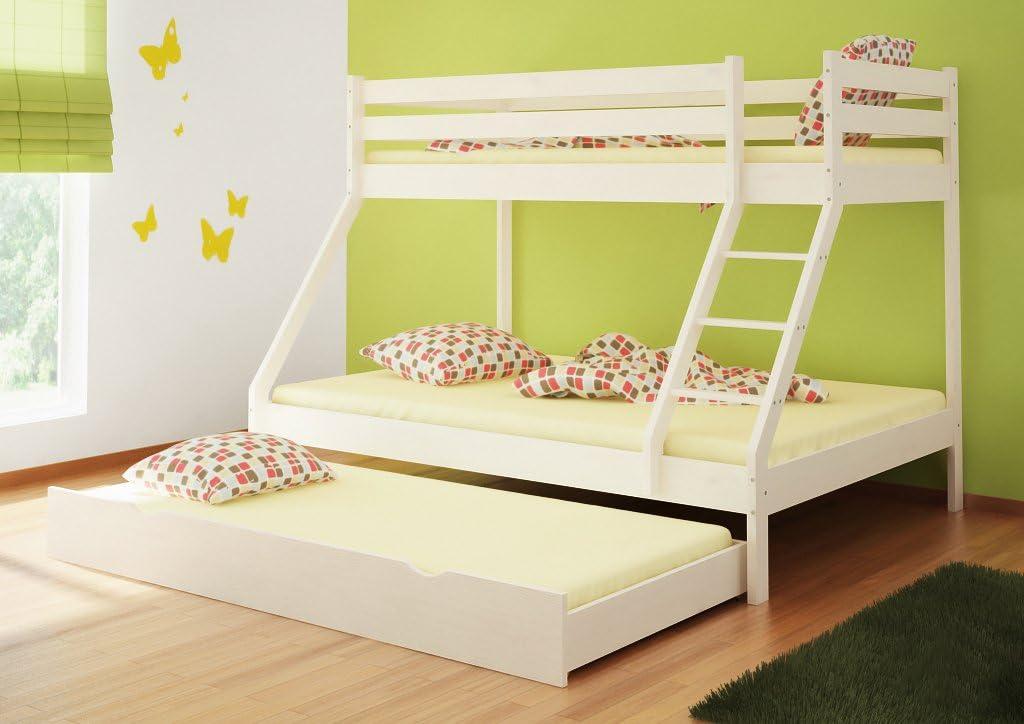 Triple Sleeper Bunk Bed Daris 1 Solid Pine Wood White Finish 90 140 X 200 Cm Amazon De Baumarkt
