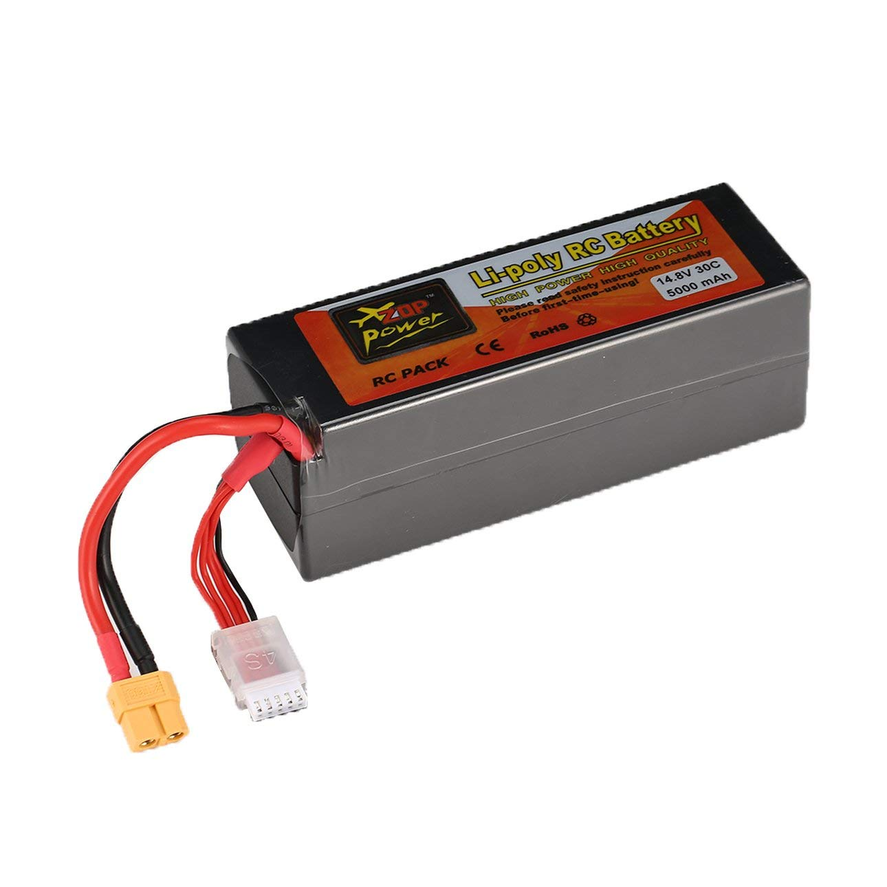 Liobaba 14.8V 5000mAh 30C 4S 1P Lipo Battery XT60 Plug Rechargeable for RC Racing Drone Quadcopter Helicopter Car Boat Model Dark-Gray