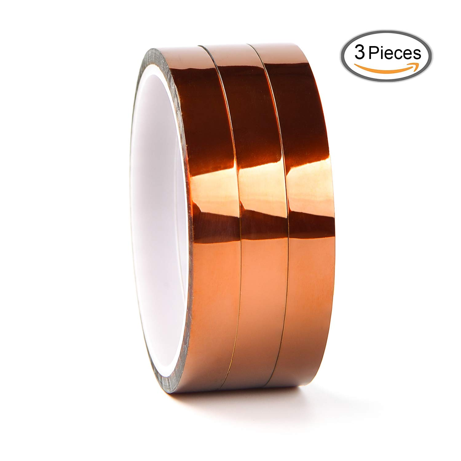 LABOTA 3 Roll 12mm High Temp Tape, Heat Resistant Tape Polyimide Masking Tape Kapton Tape for Masking, Soldering, Powder Coating, Sublimation and Insulating Circuit Boards (12MM x 30M)