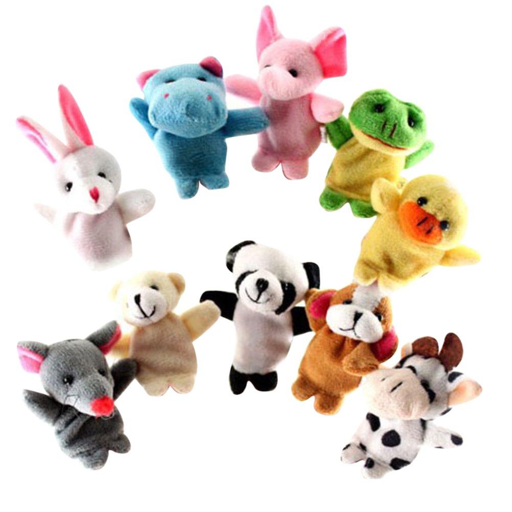 BoodTag Tier Theater Fingerpuppen Handpuppe Set Kinder Geschenk Fingertiere Handschuh Fingerlein Spielzeug Puppe Plüschspielzeug Schmusetier Weich Props (A)