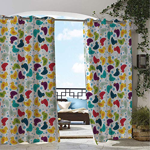 Linhomedecor Balcony Waterproof Curtains Duckies Cartoon Style Rubber Bath Ducks in Diffeent Lively Colors Bath Water Soap Bubbles Multicolor pergola Grommet Printed Curtains 72 by 96 inch