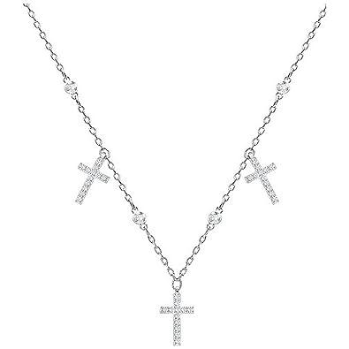 e47d217e3f07c7 White Swarovski 5377792 Mini Cross Necklace Rhodium Plated  Amazon.co.uk   Jewellery