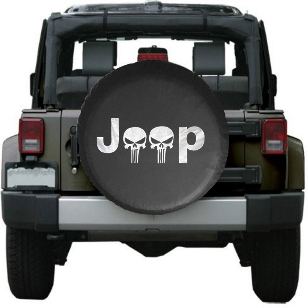 Santu Small Skull Spare Wheel Tire Cover Fit Jeep Wrangler,Liberty Classic Grill R17