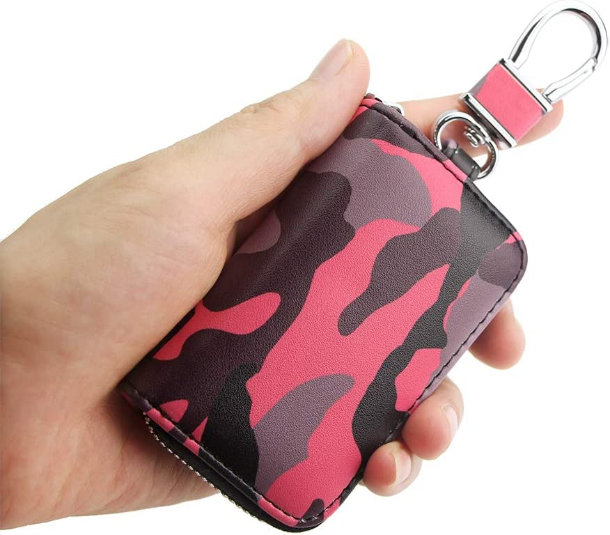 Suitable for All Kinds of car Key Bags VSLIH Genuine Leather car Key Bag,Universal Key Bag Zipper Protective Cover Wallet fob
