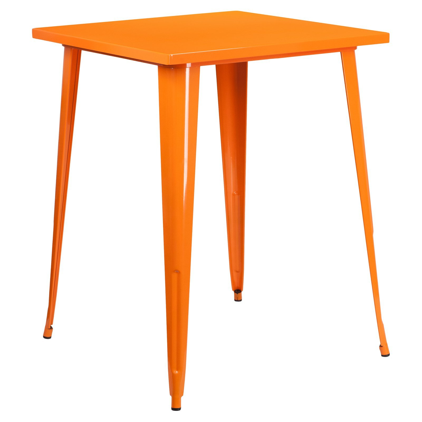 Basic 31.5'' Square Metal Indoor/Outdoor Bar Height Table with Protective Rubber Feet to Prevent Floor Damage, Thick Brace Underneath for Added Stability, Orange + Expert Home Guide by Love US