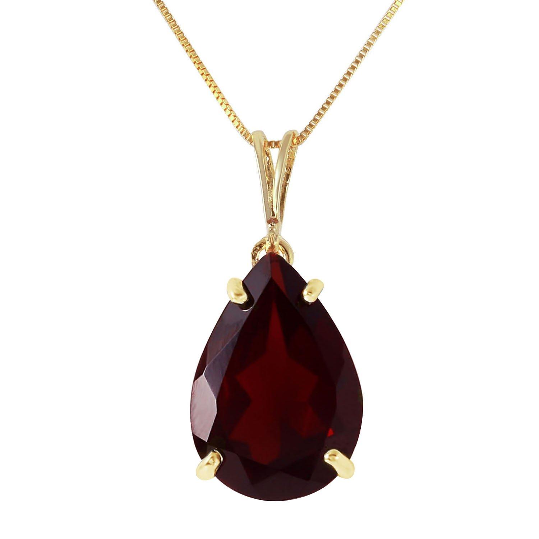 5 Carat 14k 14'' Solid Gold Necklace with Natural Garnet Pendant