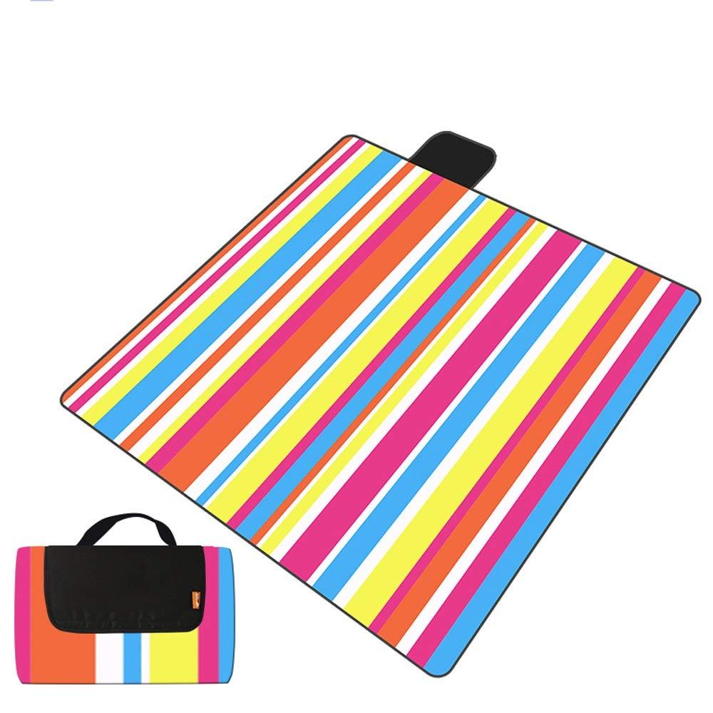 TSDS Comfortable Picnic Mat Camping Moisture-Proof Mat Blue Striped Beach Mat (Color : K)