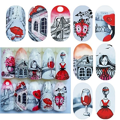 Red wine red bottoms lady bug Britain pop art nail decals anime cosplay cartoon tokyoghoul bohemian nail vinyls manga comic gamer girl hippie nail tattoo HD body stickers French tip (Andy Warhol Costume Halloween)