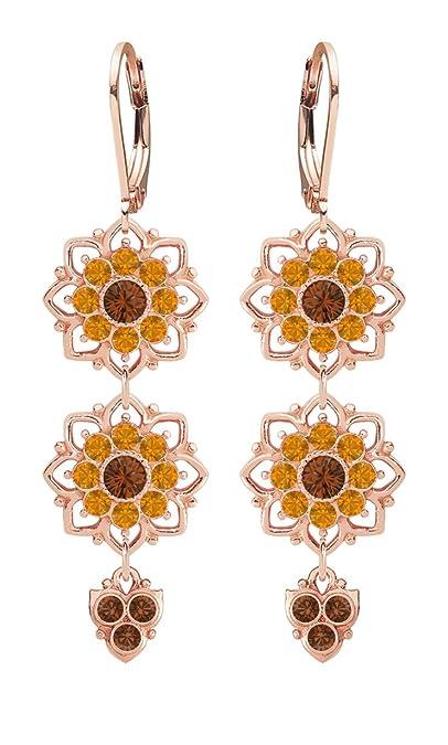 7657ec938253 Hecho a mano en Estados Unidos Bloom pendientes hecho de 24 K chapado en  oro rosa en plata de ley 925 ...