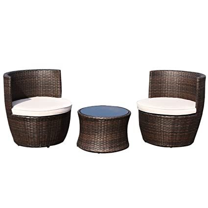 Strange Amazon Com 3 Piece Modern Wicker Patio Furniture Set Download Free Architecture Designs Photstoregrimeyleaguecom