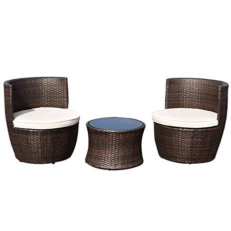 Amazon Tangkula 3 Pcs Outdoor Furniture Set Wicker Chat Set