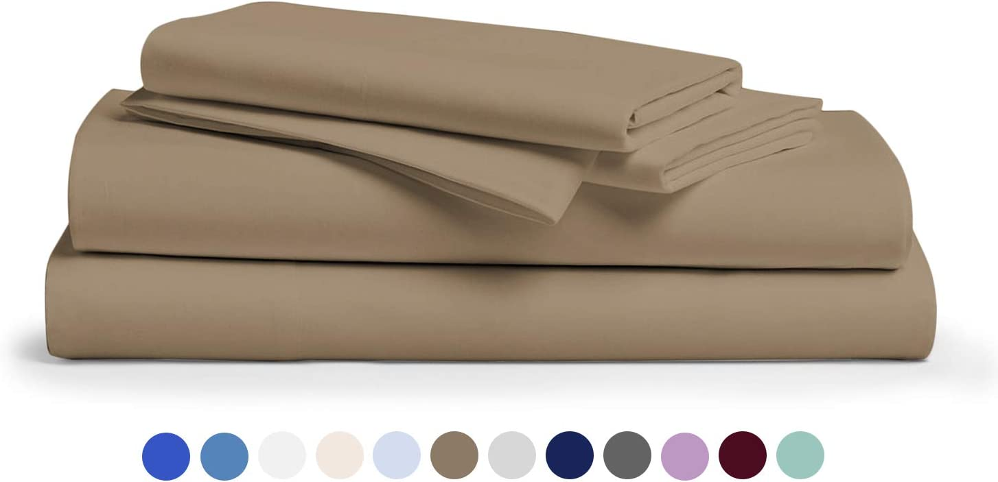 600-Thread-Count 100% Egyptian Cotton Sheets Taupe King Size, 4-Piece Extra Long-Staple Combed Cotton Breathable, Soft & Silky Sateen Weave Fits Mattress 16'' Deep Pocket