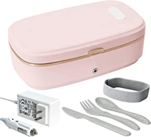 Gatoo Electric Heating Lunch Box Food Heater with Ceramic Container, 110V & 12V Dual Use lunch Warmer Portable Bento Meal Heater with Cutlery & Magnetic Interface for Car / Home / Office (Pink)
