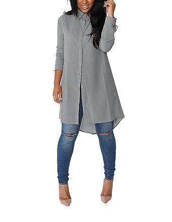 chemise femme tres longue chemise robe femme manches longues mousseline de soie lache casual. Black Bedroom Furniture Sets. Home Design Ideas