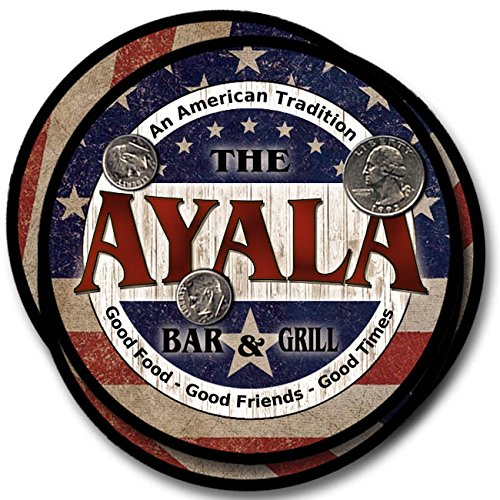 Ayala Bar and Grill Rubber Drink Coasters - 4 Pack