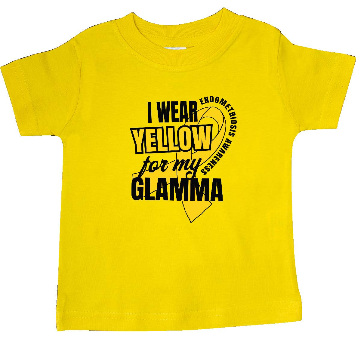 inktastic I Wear Yellow for My Glamma Endometriosis Awareness Baby T-Shirt