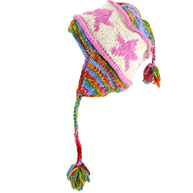 455ea5fc045 Image Unavailable. Image not available for. Colour  Loud Hats Wool Earflap  HAT Star Pattern   Braided Tassels Fleece Lined Rainbow   Pink Star