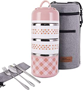 Bento Lunch Box with Flatware Set and Insulated Lunch Bag Stackable Lunch Box 304 Stainless Steel Food Container Storage Boxes for Kids and Adults (Pink, 3-tier)