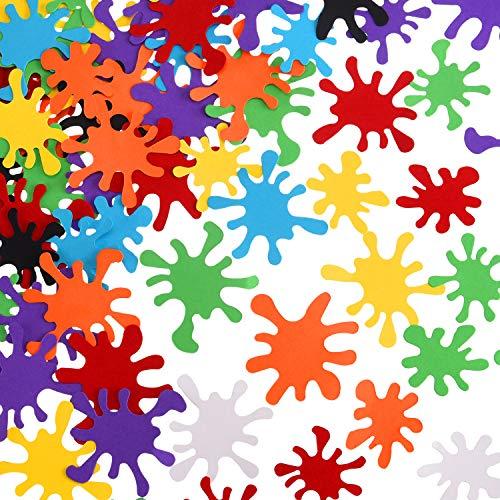 200 Pieces Paint Splatter Confetti Art Paint Splash Table Confetti for Art Birthday Party Decorations, 8 Colors -
