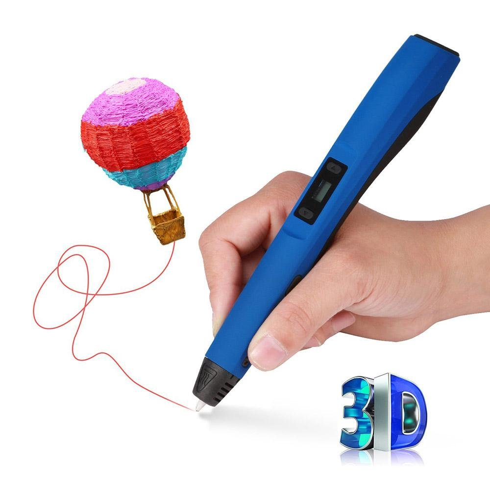 3D Printing Pen, niceEshop(TM)3rd Generation Intelligent 3D Printer Doodle Pen with Safety Holder and 3 Free 1.75 mm ABS Filament Refills(F20,Black) 6025779666589