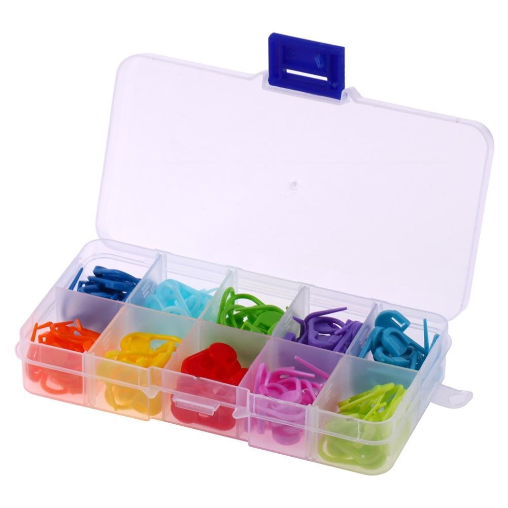Yevison 120pcs/Box 10 Colors Knitting Accessories Crochet Locking Stitch Markers Durable and Useful