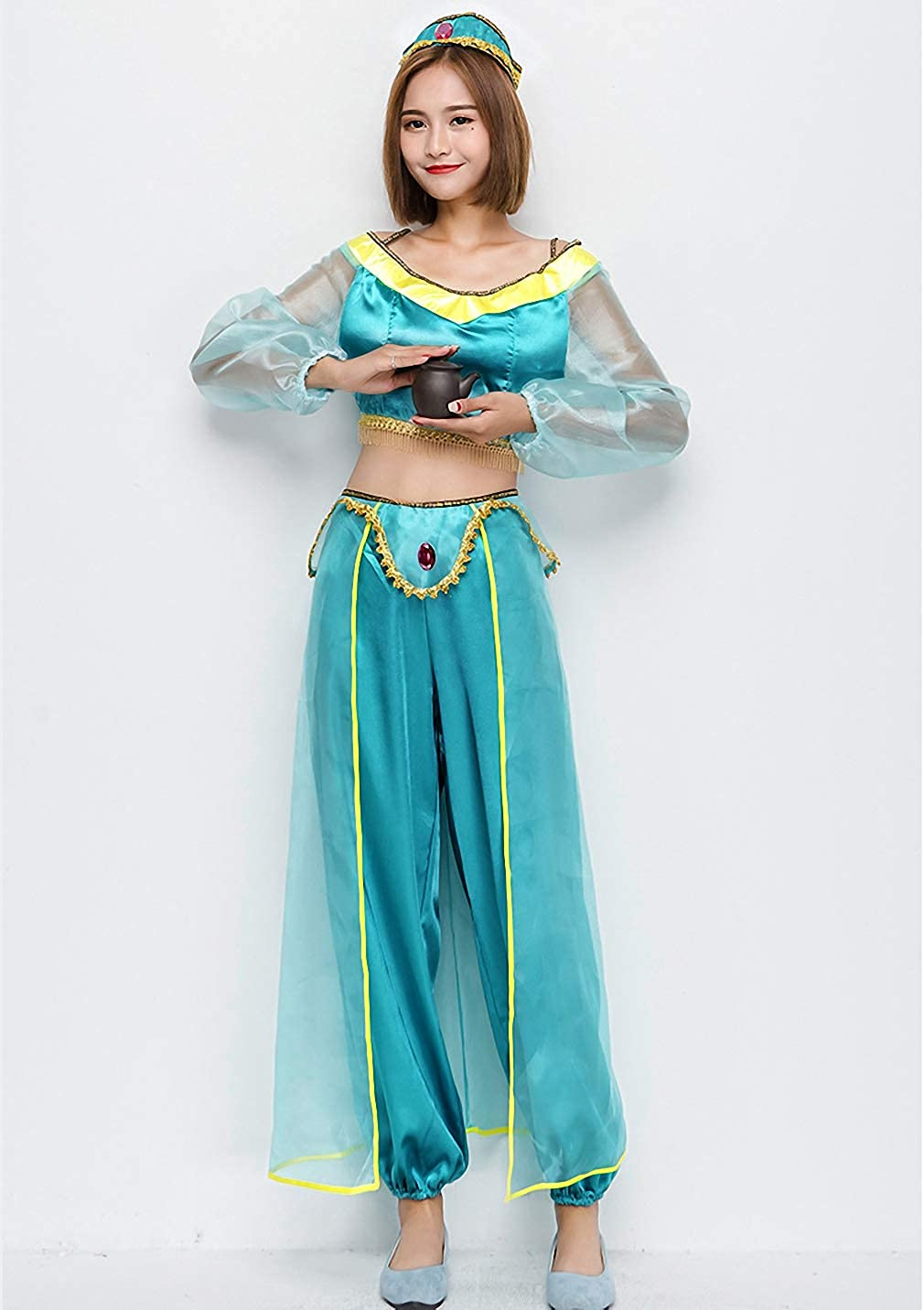 71a737eb5a28 Amazon.com: mewow Halloween Costume Women's Sexy Arab Princess Belly Dance  Show Pants Dancer Blue Outfits: Clothing