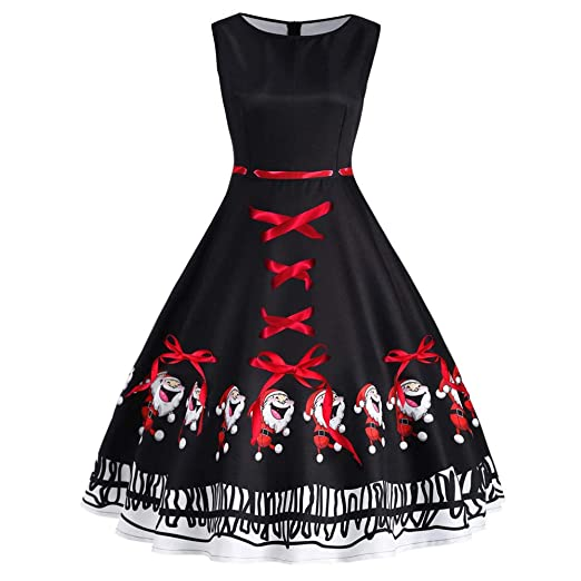 822557d5146c Amazon.com: Weiyun Fashion Women Vintage Plus Size Santa Claus Bow Print  Christmas Swing Dress: Clothing