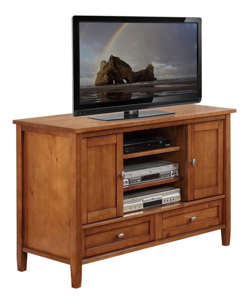 Simpli Home Warm Shaker Collection TV Stand Honey Brown