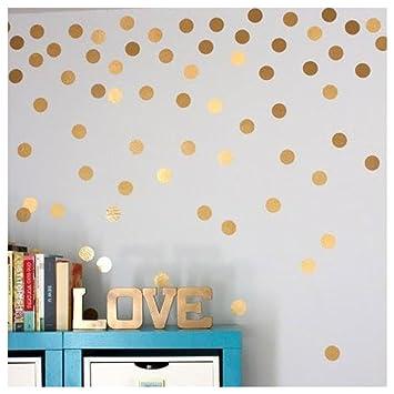 Amazon.com : Polka Dots Wall Stickers, Inkach Gold Wall Decal Dots ...