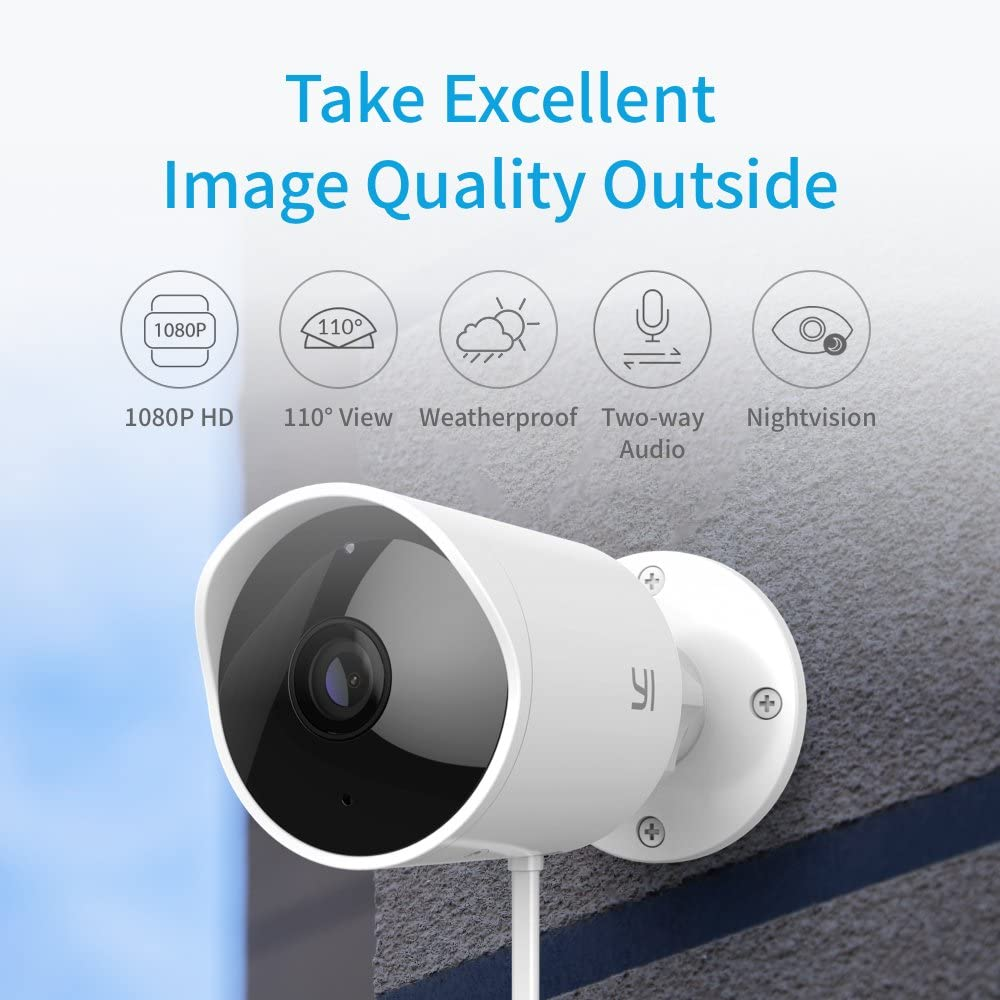 Yi Security Camera Outdoor, 1080p Outside Surveillance Front Door IP Smart Cam with Waterproof, WiFi, Cloud, Night Vision, Motion Detection Sensor, Smartphone App, Works with Alexa