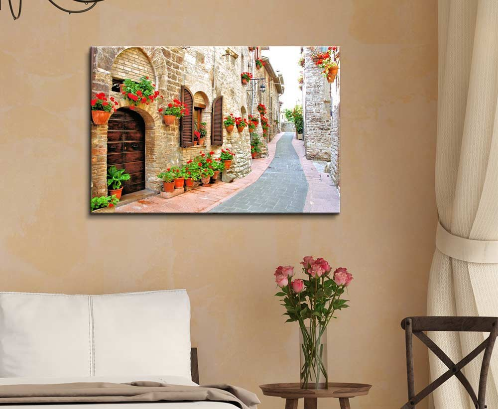 Beautiful Scenery Landscape of Picturesque Lane with Flowers in an Italian Hill Town – Canvas Art Wall Decor – 24 x 36