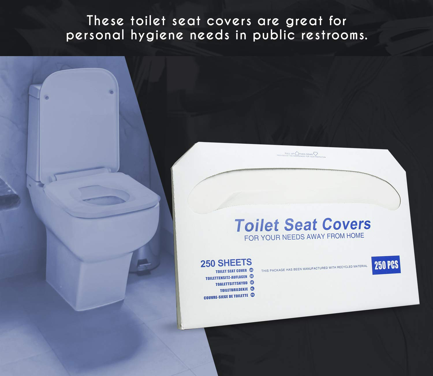 Paper Toilet Seat Covers - Disposable - Half-Fold Toilet Seat Cover Dispensers - White - 4 Pack of 250-14''L x0.1''W x 16''H by Juvale (Image #2)