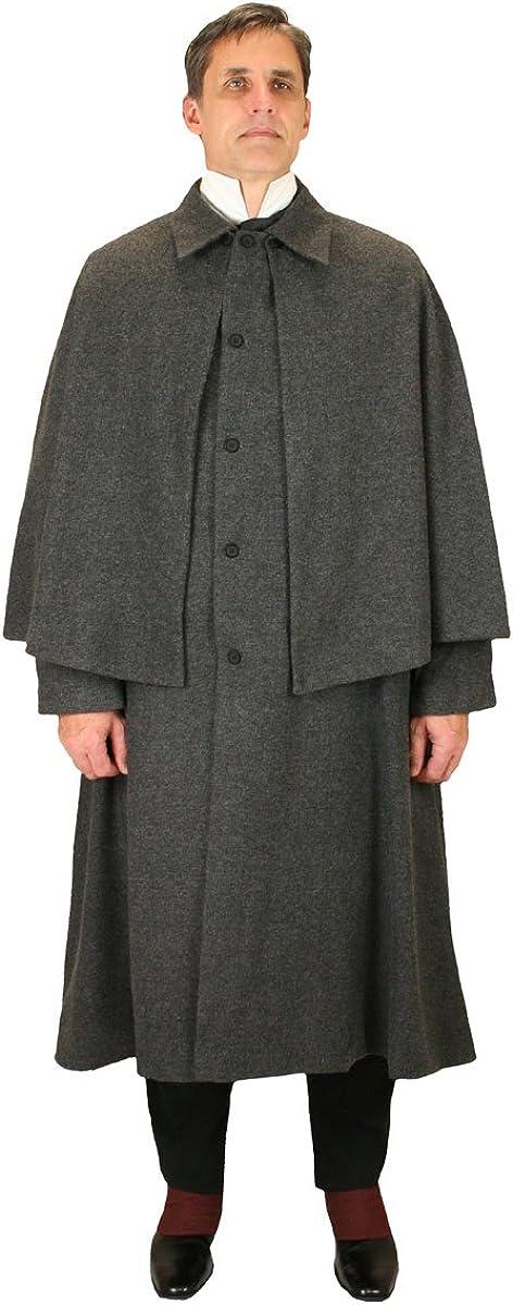 Historical Emporium Men's Herringbone Tweed Inverness Dress Coat M/L Gray