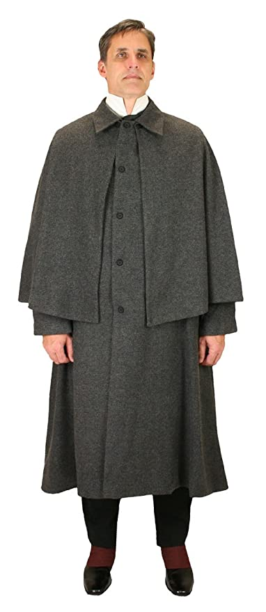 Victorian Mens Suits & Coats Historical Emporium Mens Herringbone Tweed Inverness Dress Coat $202.95 AT vintagedancer.com