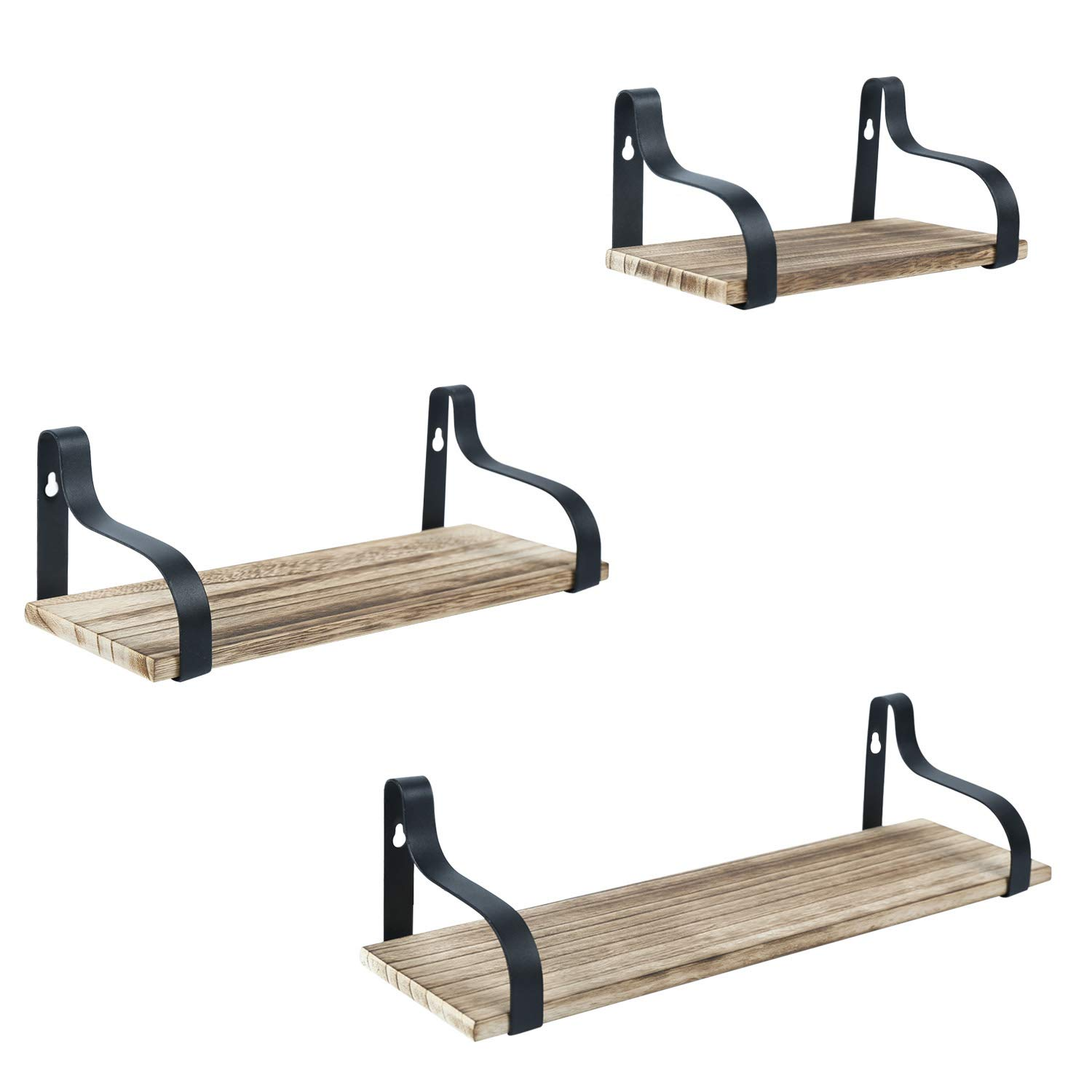 Y&ME Floating Shelves Wall Mounted Set of 3, Rustic Wood Wall Floating Shelves with Brackets, Wall Mounted Organizer Storage Shelf for Bathroom,Bedroom, Living Room, Kitchen, and Office by Y&ME